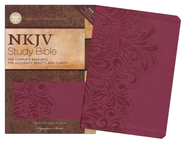 NKJV Study Bible, Second Edition, Leathersoft, cranberry indexed  -