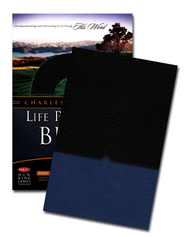 NKJV Charles F. Stanley Life Principles Bible, Leathersoft, Blue Jay and Black  -              Edited By: Charles F. Stanley