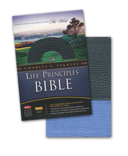 NKJV Charles F. Stanley Life Principles Bible, Leathersoft, Blue Jay and Black, Indexed  -              Edited By: Charles F. Stanley