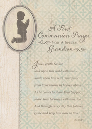 A First Communion Prayer Card, Grandson, Pack of 7   -