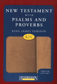 KJV New Testament with Psalms and Proverbs, imitation leather, tan with flap closure  -