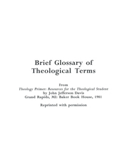 Brief Glossary of Theological Terms (Photocopy)   -     By: John Davis