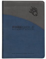 NIV Fire Bible Student Edition Imitation Leather blue/gray 1984  -