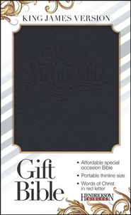 KJV Gift Bible--soft leather-look, black with black blind  stamping  -