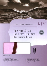 KJV Hand Size Giant Print Reference Bible, Pink and White Simulated Leather  -