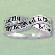 I am My Beloveds Celtic Ring, Sterling Silver, Size 12  -