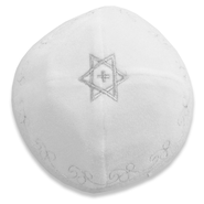 Velvet Kippah: Star with Cross, White  -