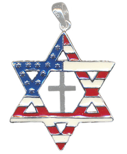 Star of David Pendant, Flag & Cross  -