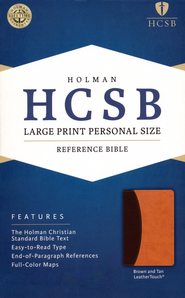 HCSB Hand Size Giant Print Reference Bible, Dark Brown & Light Brown Simulated Leather  -