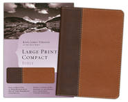 KJV Large Print Compact Bible, Dark Brown & Light Brown Simulated Leather  -