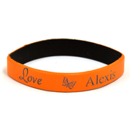 Personalized, Love Wristband, With Name and Butterfly, Orange  -