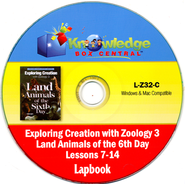 Exploring Creation with Zoology 3: Land Animals of the 6th Day Lessons 7-14 Lapbook CD-Rom  -