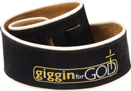 Guitar Strap, Giggin for God, Black, Extra Long  -