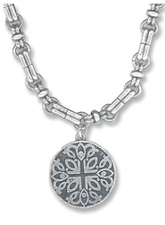 Round Cross Necklace  -