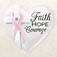 Faith , Hope, Courage Pink Ribbon, Heart Expressions Stone  -