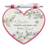 Heart Shaped Notepad and Pen Set, Teacher  -
