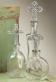 Set of 3 Bottles with Cross Stoppers  -