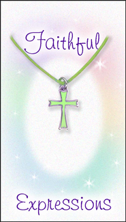 Cross Necklace, Green  -