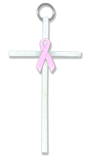 Pink Ribbon Wall Cross  -
