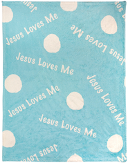 Jesus Loves me Fleece Throw, Blue  -
