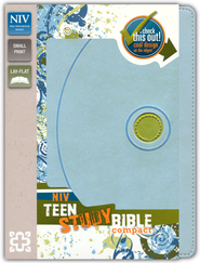 NIV Teen Study Bible, Compact, Italian Duo-Tone Mist Blue/Kiwi - Imperfectly Imprinted Bibles  -