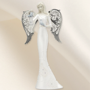 Bless This Home Angel with Birdhouse Figurine  -
