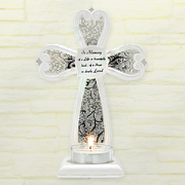 In Memory Cross Tea Light Holder  -