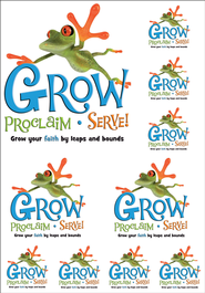 Grow, Proclaim, Serve! Sunday School Iron-On (One Sheet)  -