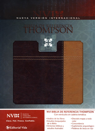 Biblia de Ref. Thompson NVI, Piel Ital. Dos Tonos Rojo O./Cafe  (NVI Thompson Ref. Bible, Ital. Duo Tone Leather Bg/Tan)  -