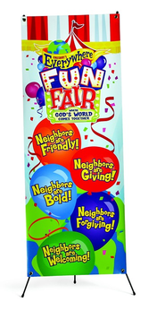 VBS 2013 Everywhere Fun Fair: Where God's World Comes Together - VBS Theme Banner & Stand Combo  -