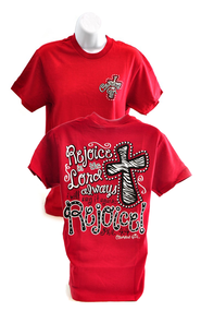 Rejoice in the Lord Always, Cherished Girl Style Shirt, Red, Large  -