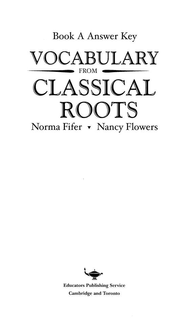 Vocabulary from Classical Roots Book A Answer Key Only   -