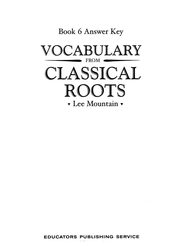 Vocabulary from the Classical Roots 6 Answer Key  -