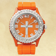 Watch, Silicone Wristband with Cross, Orange, Large  -