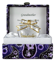 Grandmother Glass Heart in Paisley Box   -