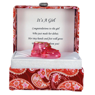 Pink Shoe in a Paisley Box, It's a Girl  -
