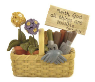 With God All Things Are Possible Gardening Basket Figurine  -