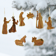 Olive Wood Nativity OrnamentS, Set of 8 Pieces   -