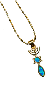 Messianic Sign Black Opal Pendant   -