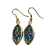 Messianic Sign Earrrings, Black Opal   -