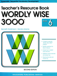 Wordly Wise 3000 Teacher Resource Book 6, 2nd Edition   -