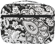 Quilted Paisley Bible Cover, Black and White, Large  -