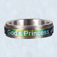 Spinner Ring, God's Princess, Green, Size 8  -