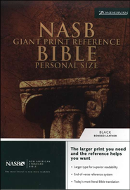 NAS Giant Print Reference Bible, Personal Size, Bonded leather, Black  -