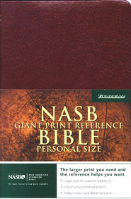 NAS Giant Print Reference Bible, Personal Size, Imitation leather,  Burgundy, Thumb-Indexed  -