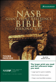 NAS Giant Print Reference Bible, Personal Size, Bonded leather,  Black, Thumb-Indexed  -