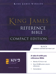 KJV Compact Reference Bible, Button Flap, Immitation Navy Blue Leather  -