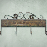 Bless Our Home, Metal Hook Rack  -