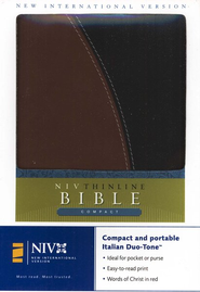 NIV Compact Thinline Bible, Italian Duo-tone, tan/black 1984 - Imperfectly Imprinted Bibles  -