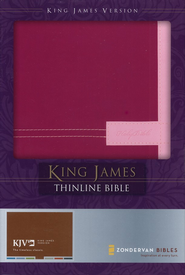 King James Version Thinline Bible, Italian Duo-Tone &#153, Razzleberry/Orchid  -